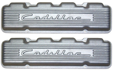 CHP-BL73-RAISED CADILLAC SCRIPTED & FINS VALVE COVERS-331/365/390/429