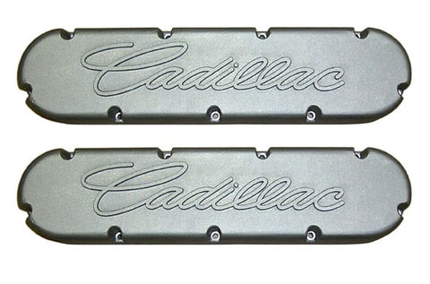 CADILLAC 472 500 RAISED CADILLAC SCRIPT VALVE COVERS-472/500-CHP-BL79