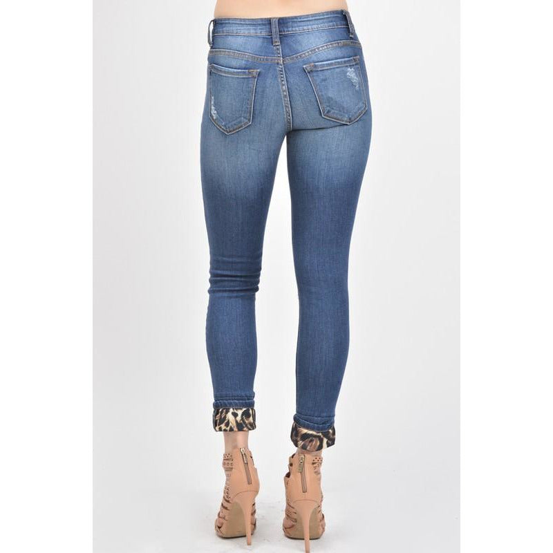 Mid Rise Leopard Patch Ankle Skinny