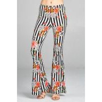 Stripe Printed Bell Bottom Pants
