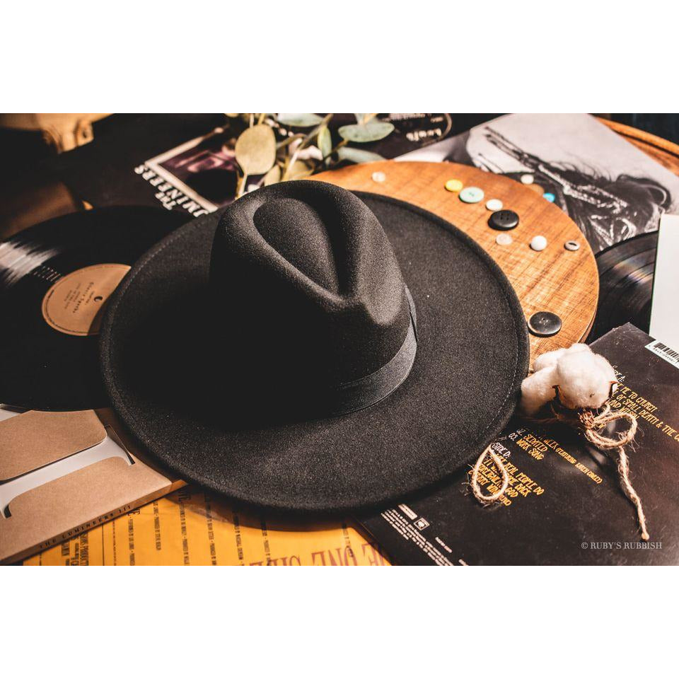 Wide Brim Black Hat