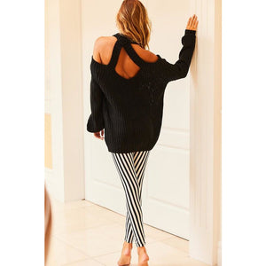 Cold Shoulder Sweater (BLK)