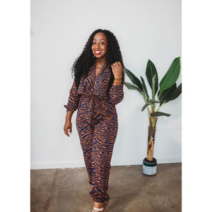 Zebra Print Jumpsuit (Orange)