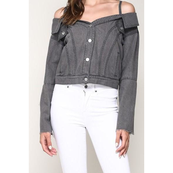 My Off Shoulder Denim Jacket - Charcoal