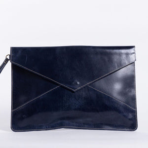 Zahra Leather Envelope Clutch (Nile Blue)