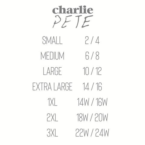 Charlie Pete Size Chart