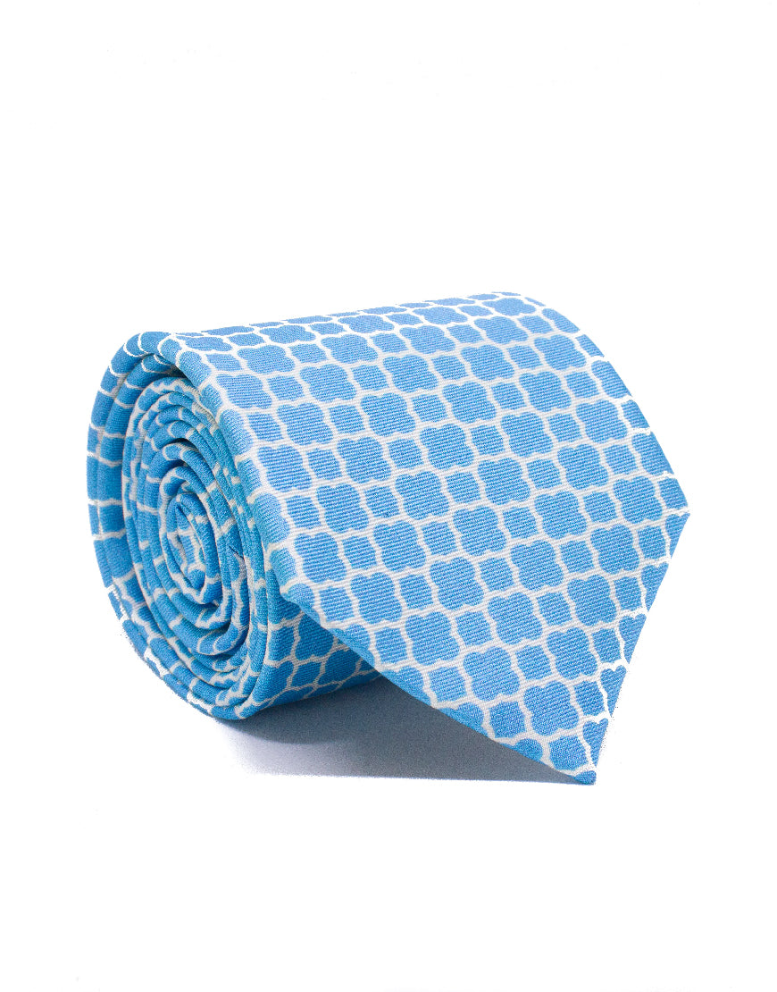 Mr. Belgrade Light Blue Quatrefoil Tie