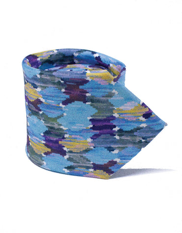 Blue and purple watercolour print tie