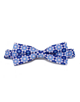 Blue and pink geometric print bow tie