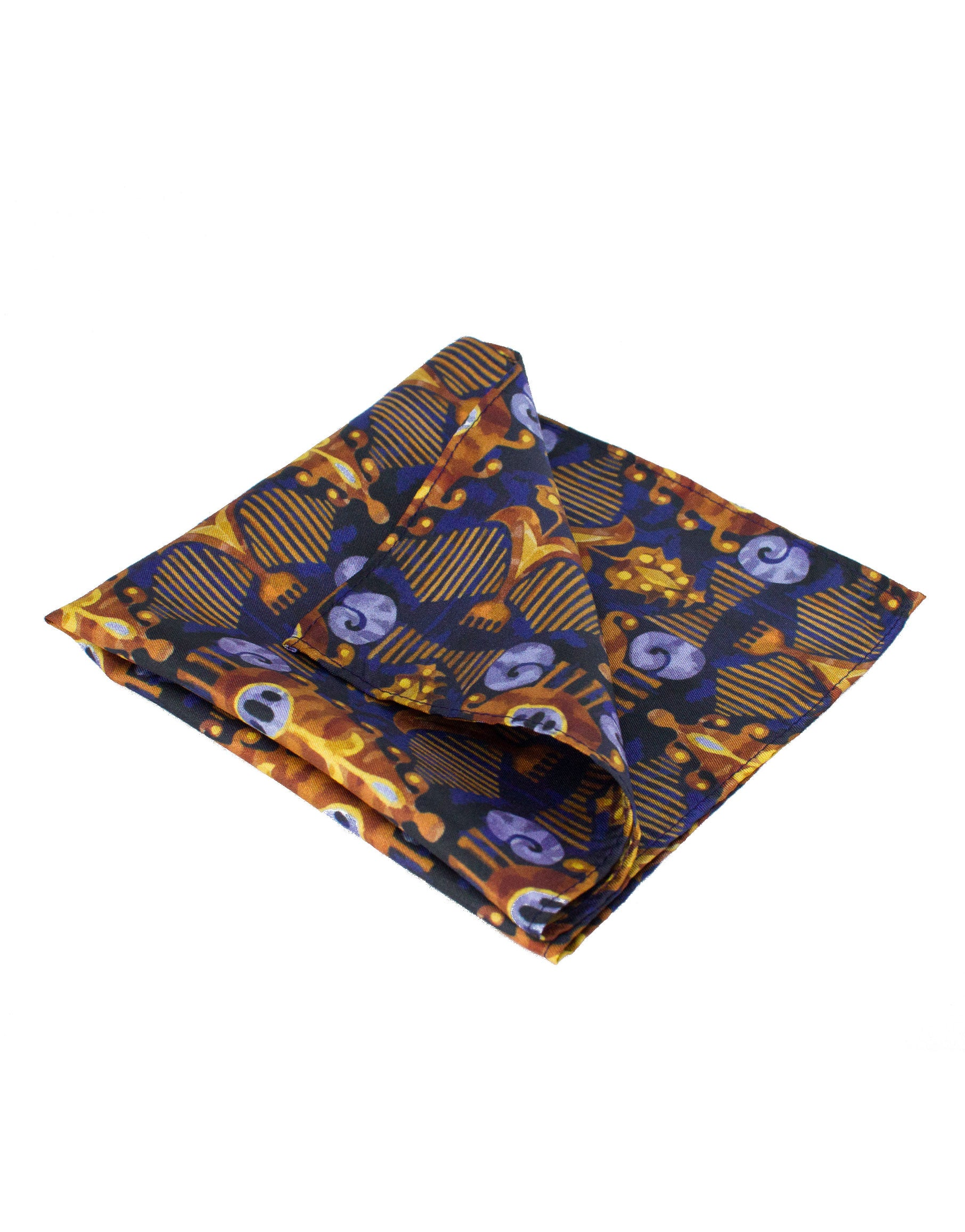 Silk gold and navy pocket square