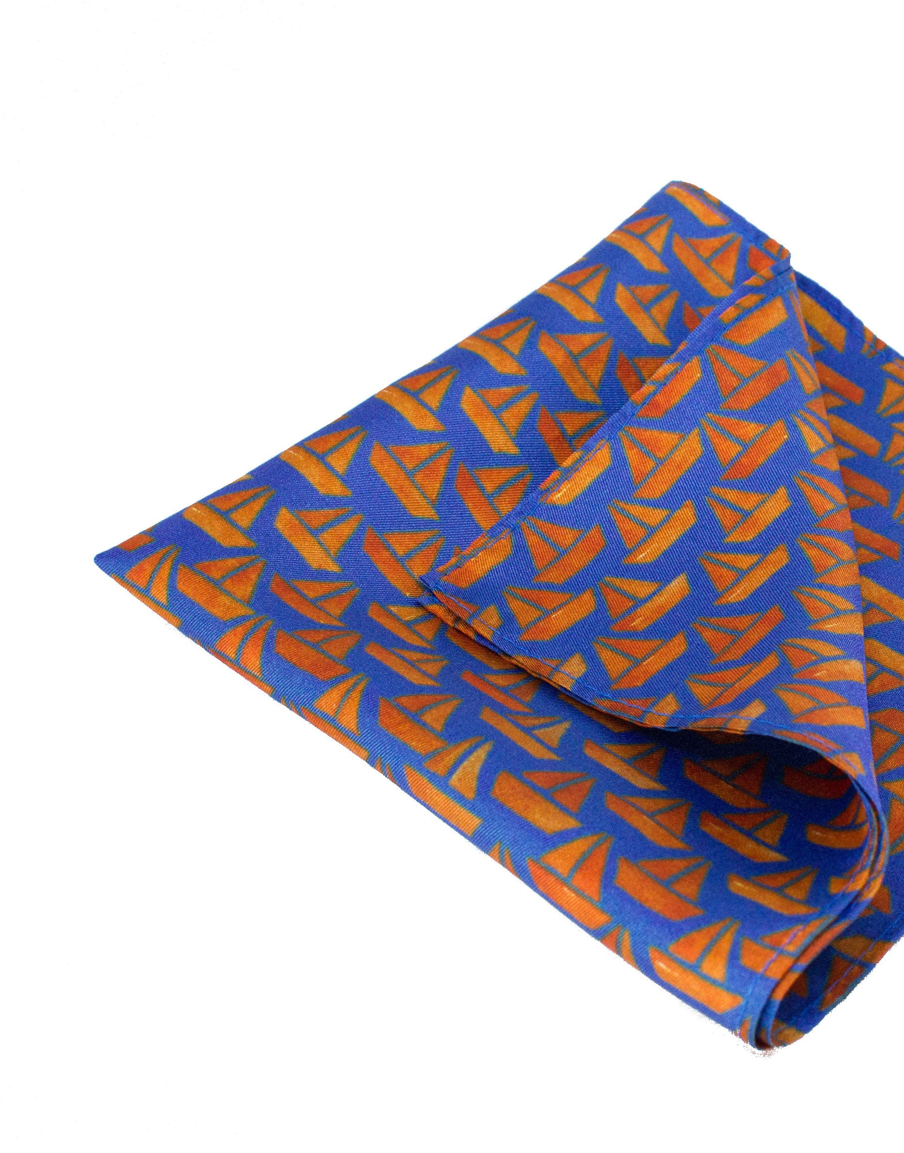 Blue and Orange sailboat pocket square