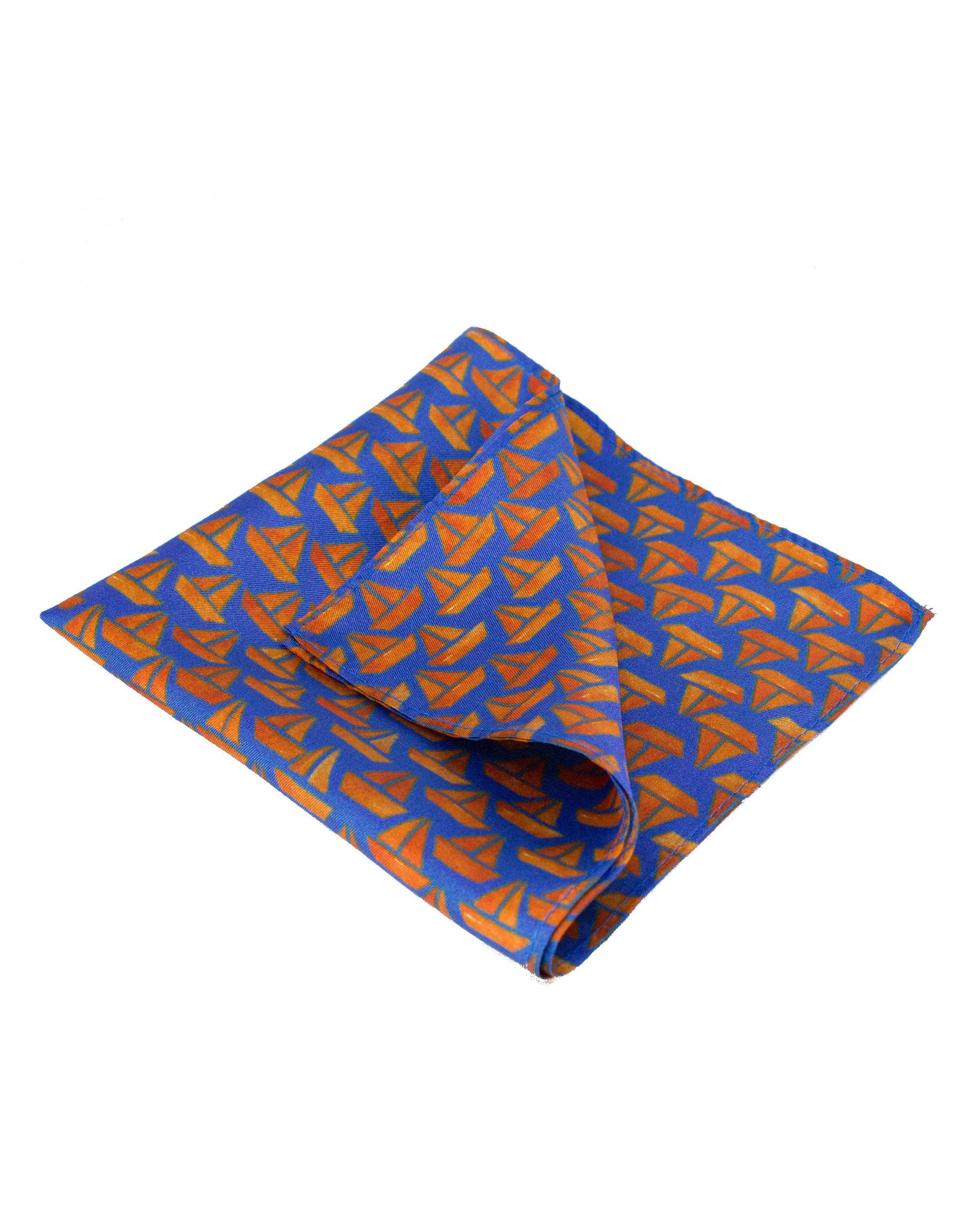 Sailboat silk pocket square