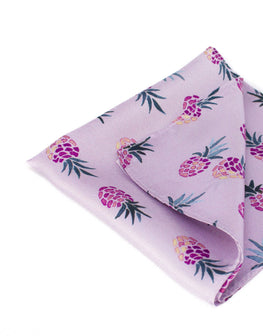 Pink pineapple print silk pocket square