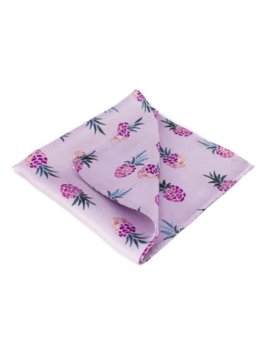 Pink silk pocket square with pineapples