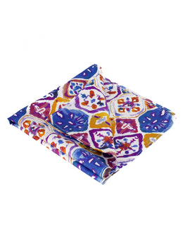 Watercolour print bright silk pocket square