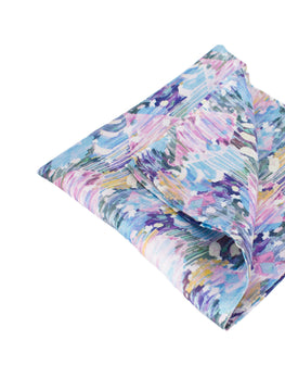 Pastel pink and blue silk pocket square