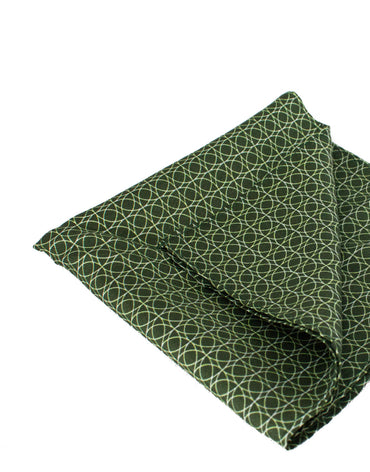Mr. Manaus | Deep Green Circle Chain Pocket Square