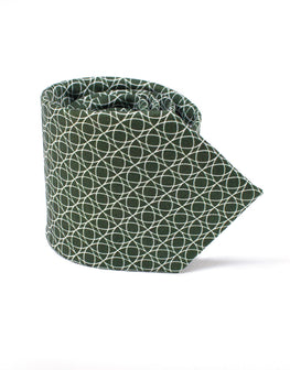 Deep olive green silk tie