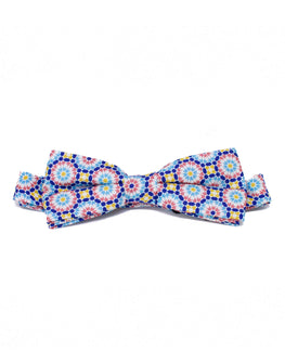 Orange and blue Moroccan print bowtie