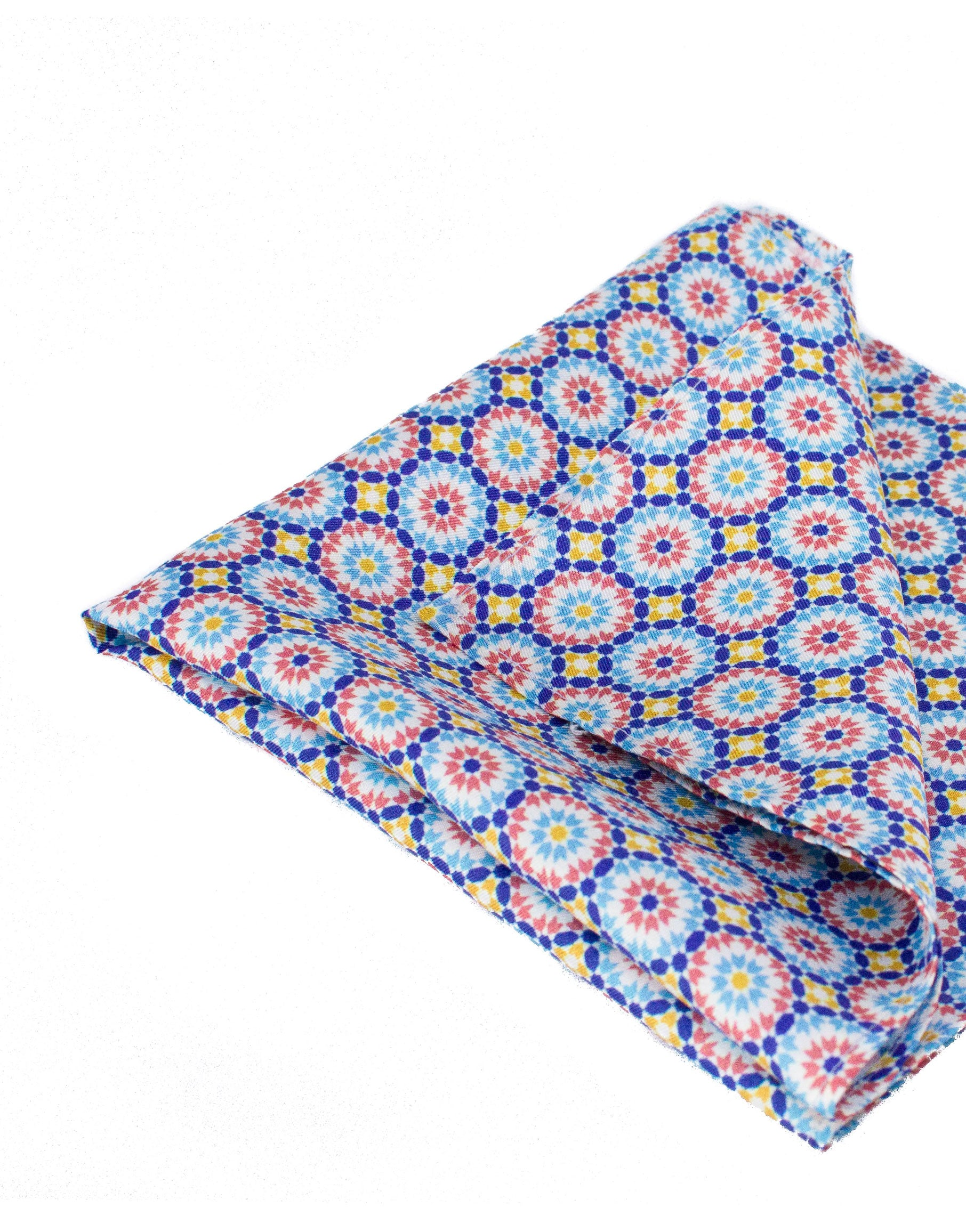 Moroccan print silk pocket square