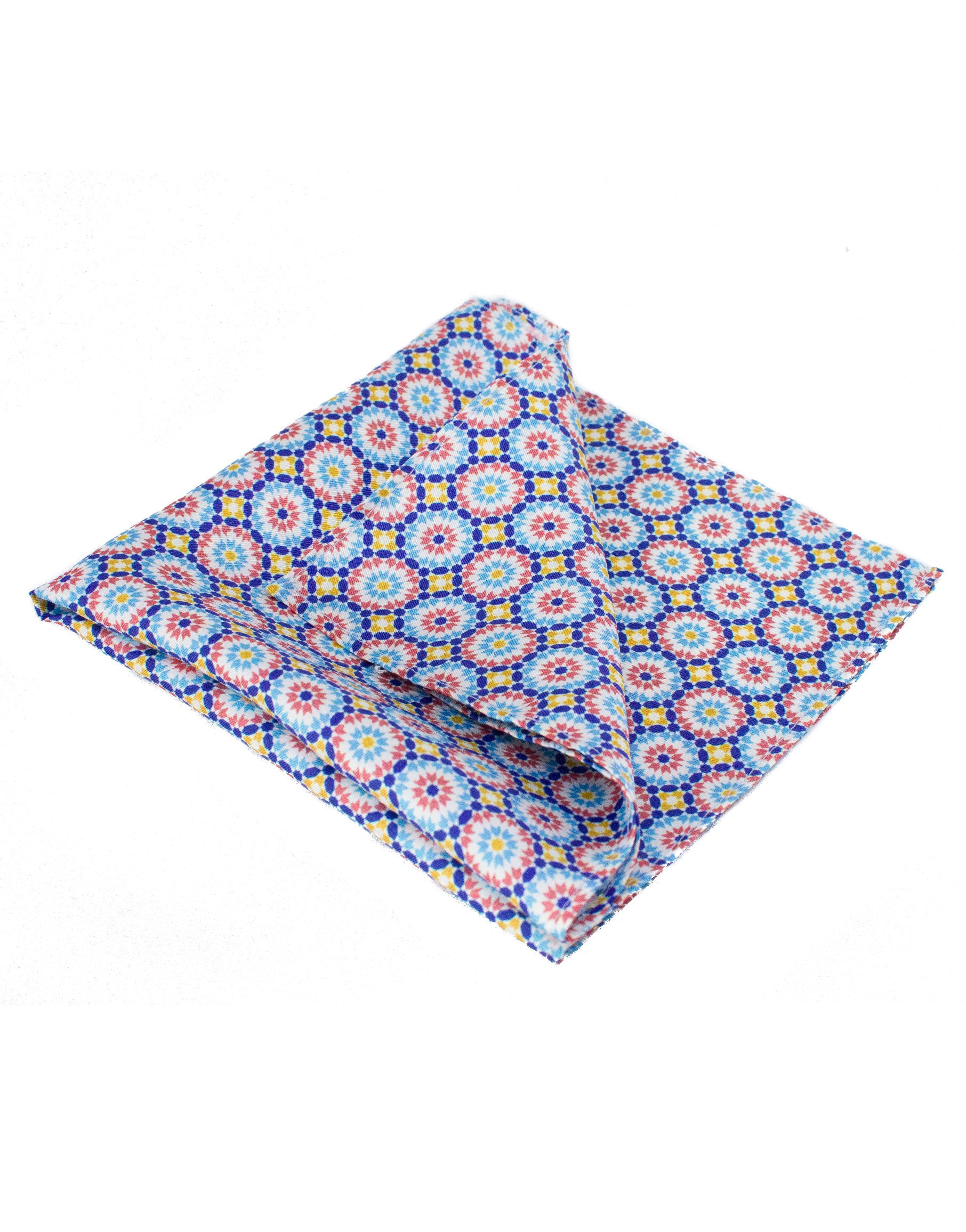 Orange and blue tile print pocket square