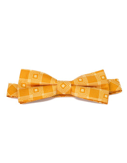Orange silk fashionable mens bow tie