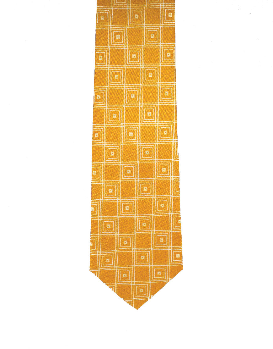 Statement orange diamond linked silk tie