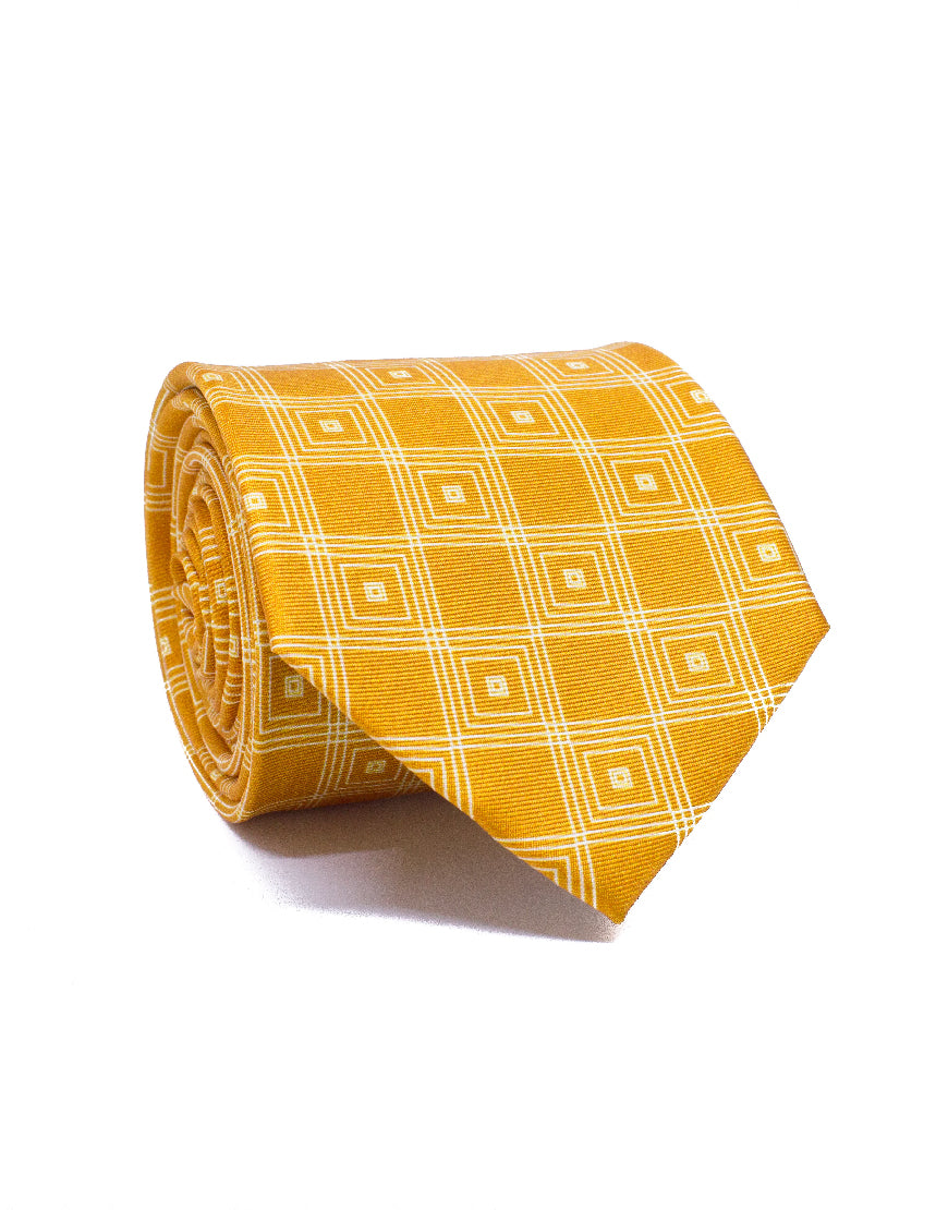 Mr. Nevada Orange Linked Diamond Silk Tie