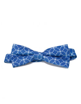 Dusty blue flower chain print bowtie
