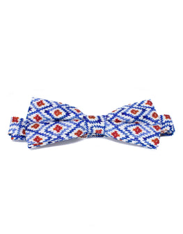 Blue, white and red silk hand-made bowtie