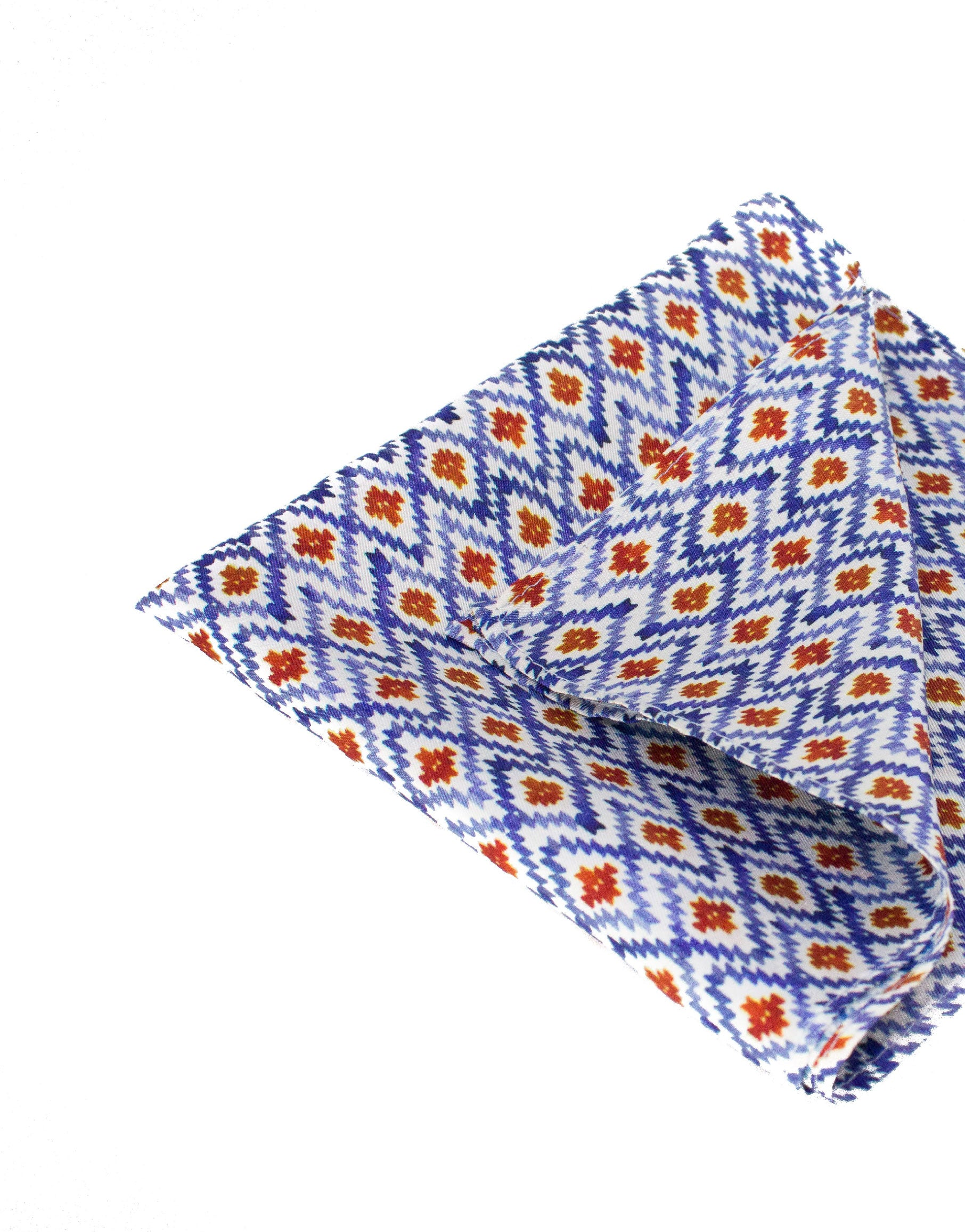 Blue, white and red silk pocket square