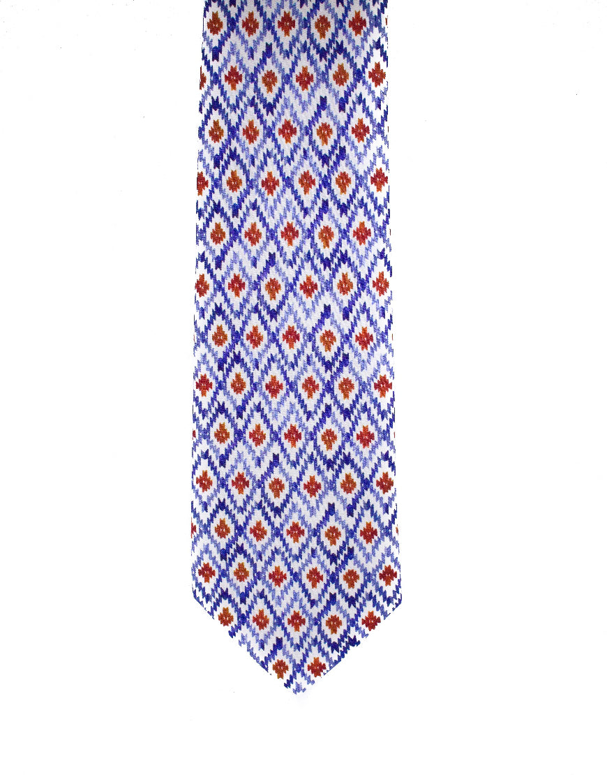 Red, white and blue diamond print silk tie