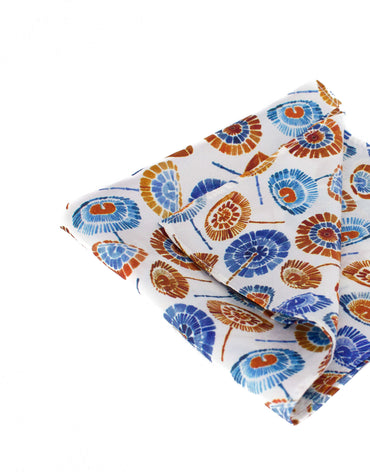 Red and blue umbrella print pocket square