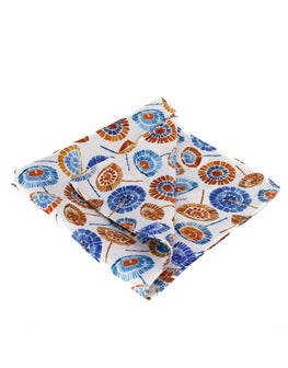 Silk pocket square with quirky umbrella print