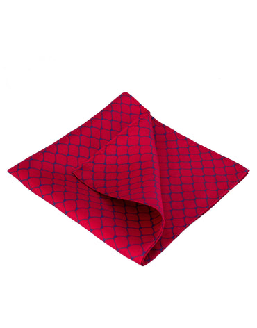 Silk red men's pocket square accessory