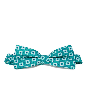 Emerald green diamond print silk bowtie