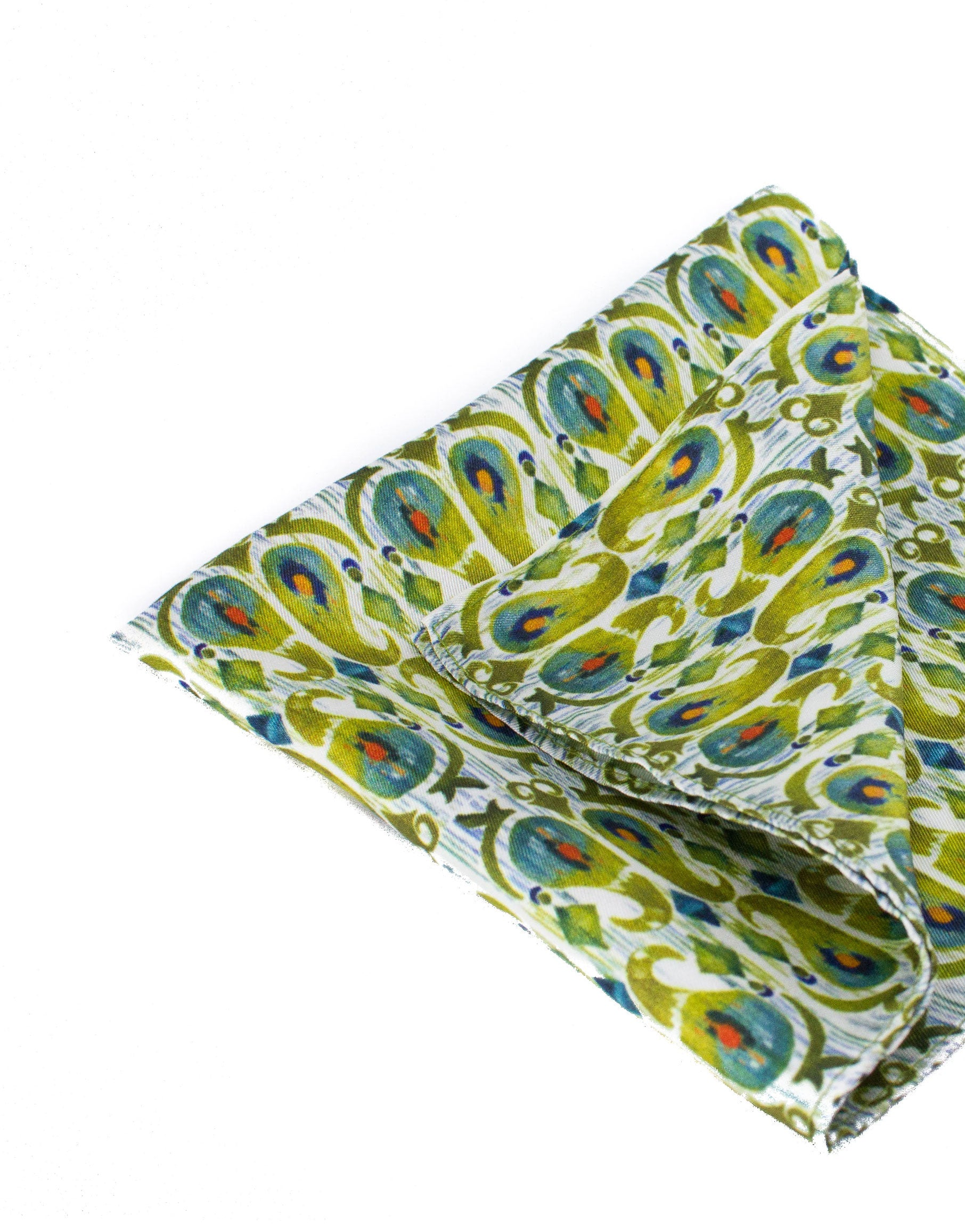 Earthy green print silk pocket square