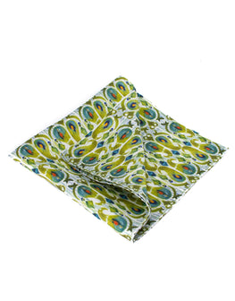 Green print men's silk pocket square