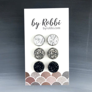 Smoky - 3 Pack Druzy Earring Set