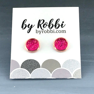 8mm/12mm Pink And Purple Druzy Studs