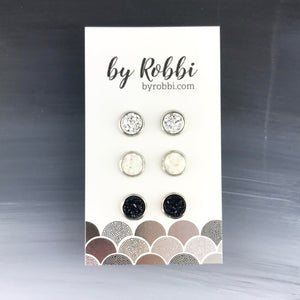 Basic - 3 Pack Druzy Earring Set
