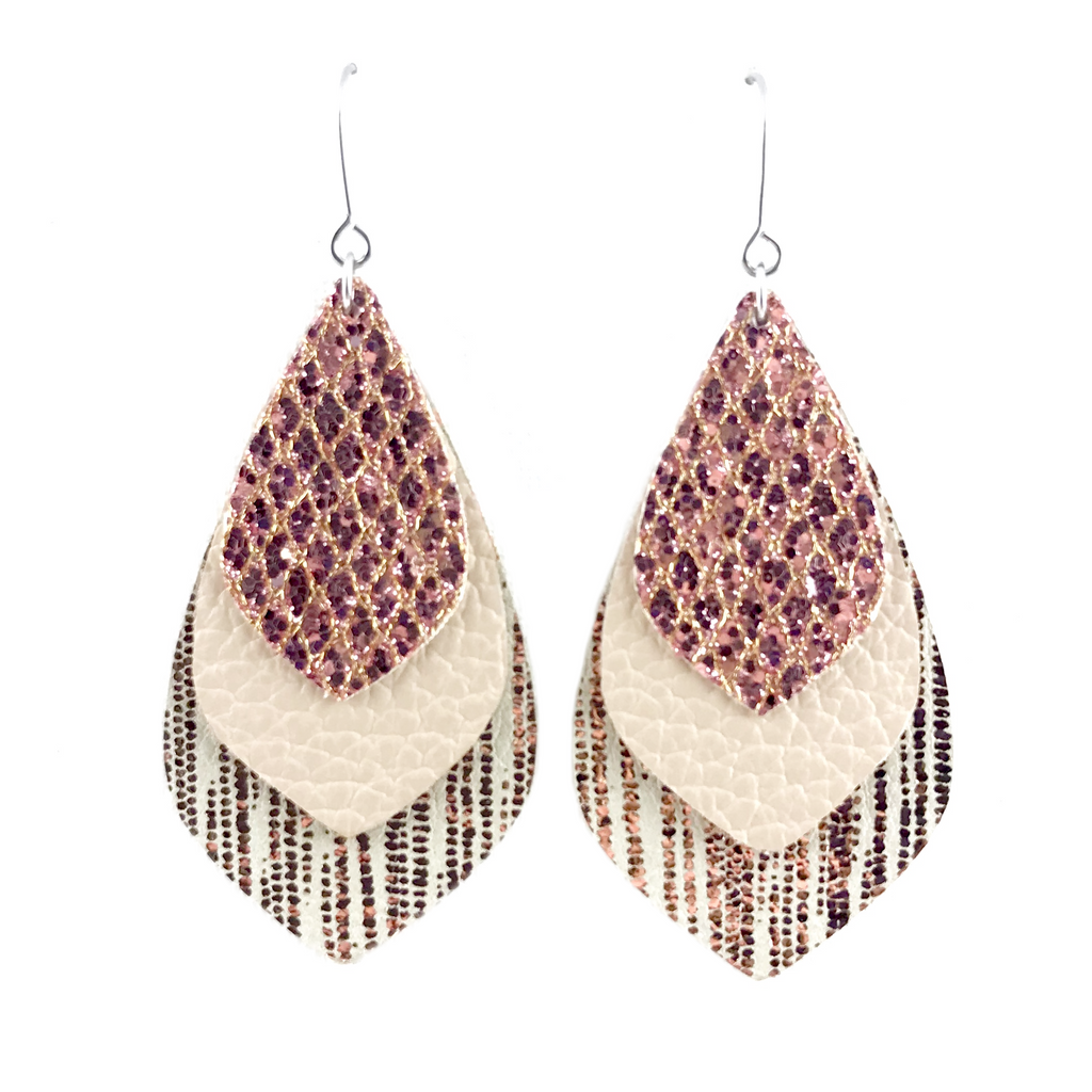 Flirty Rose Gold Triple Layered Earrings