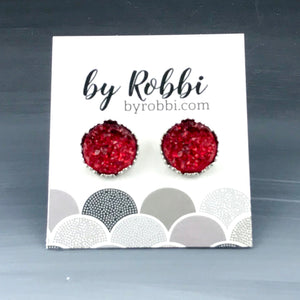 8mm/12mm Red And Orange Druzy Studs