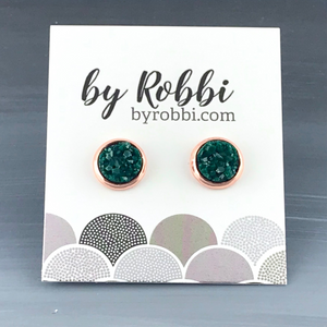 8mm/12mm Blue and Green Druzy Studs