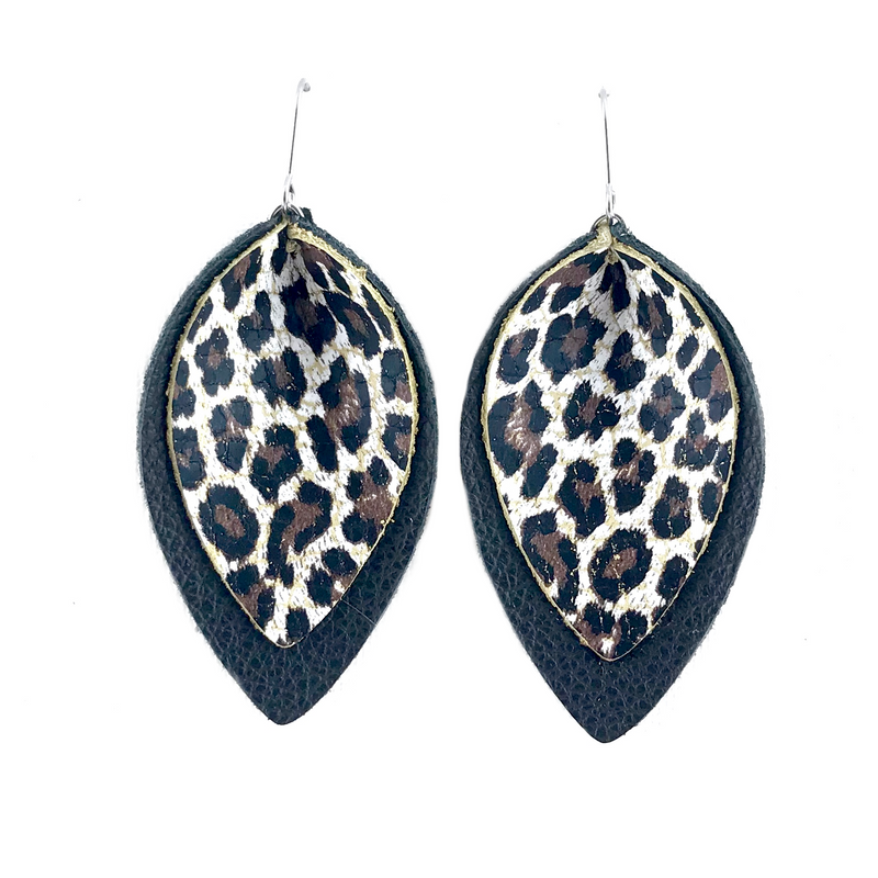 Leopard Layered Leather Earrings
