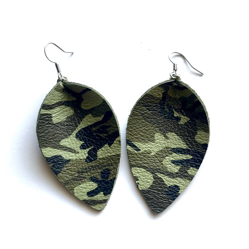 Camo petal earrings