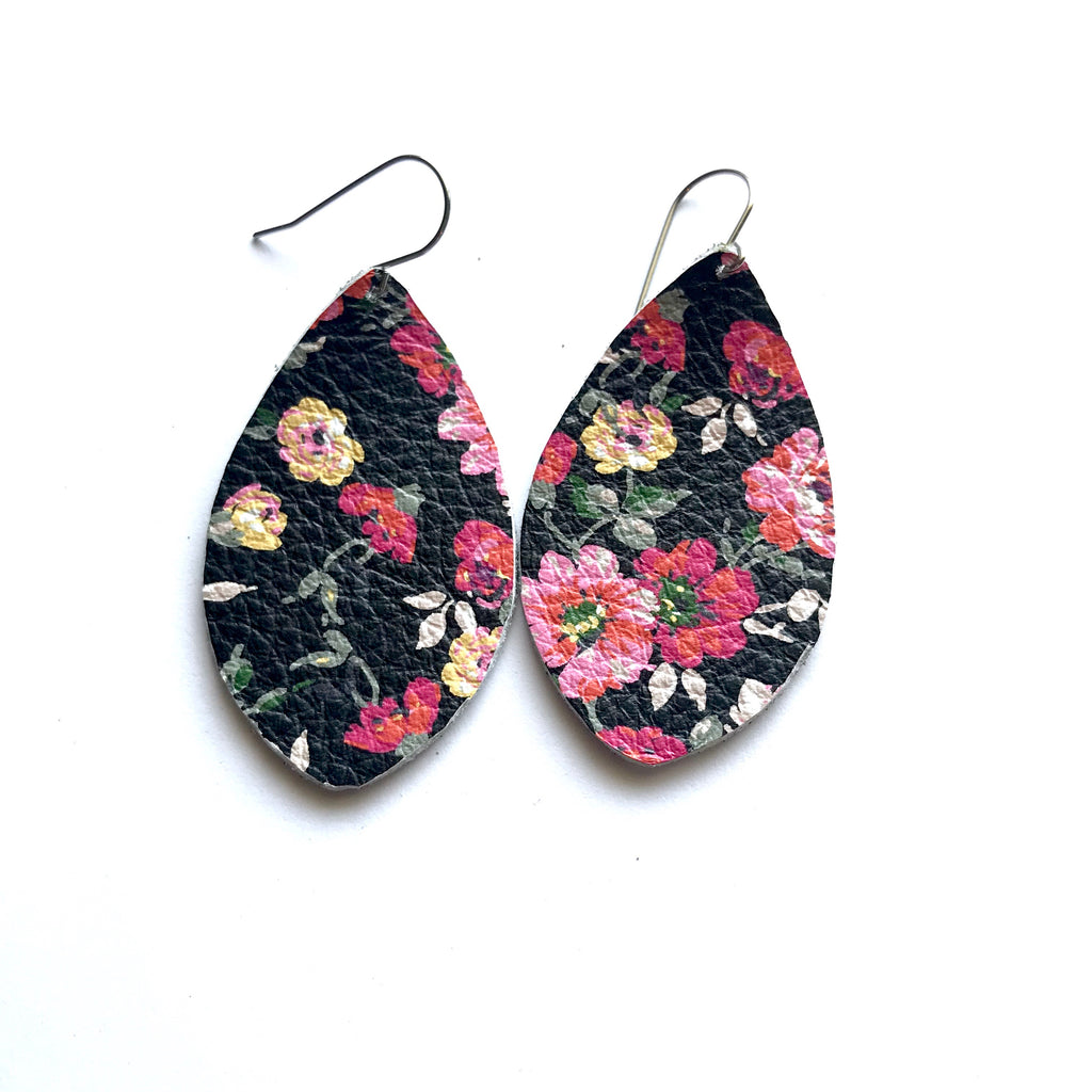 Black floral leather earrings