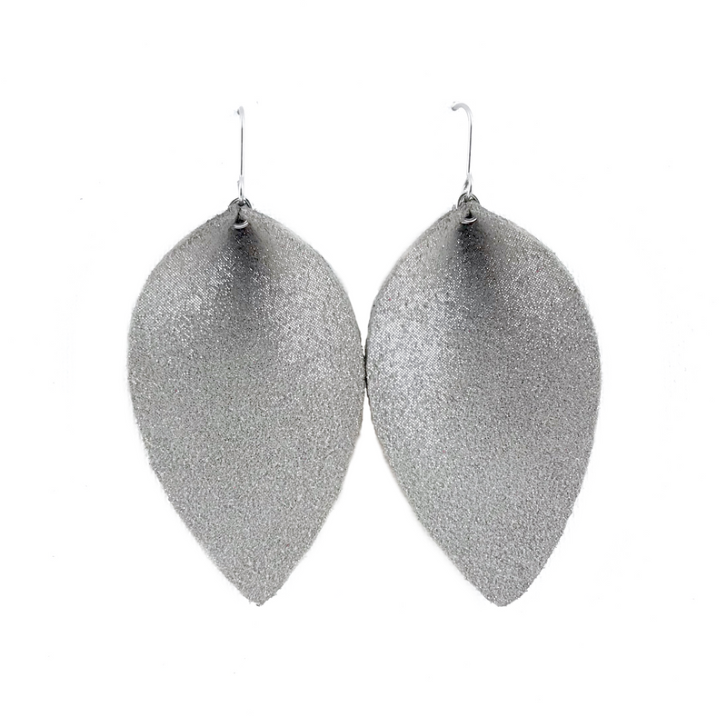 Sparkling Space Gray Leather Earrings