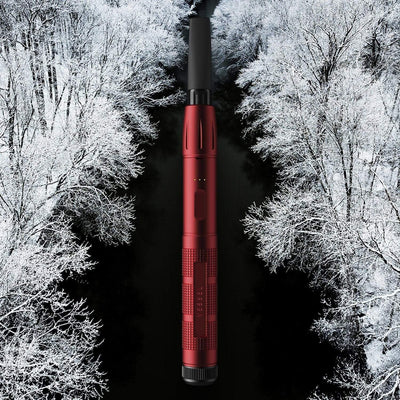 Red Vape Pen Battery with Snowy Tree Background