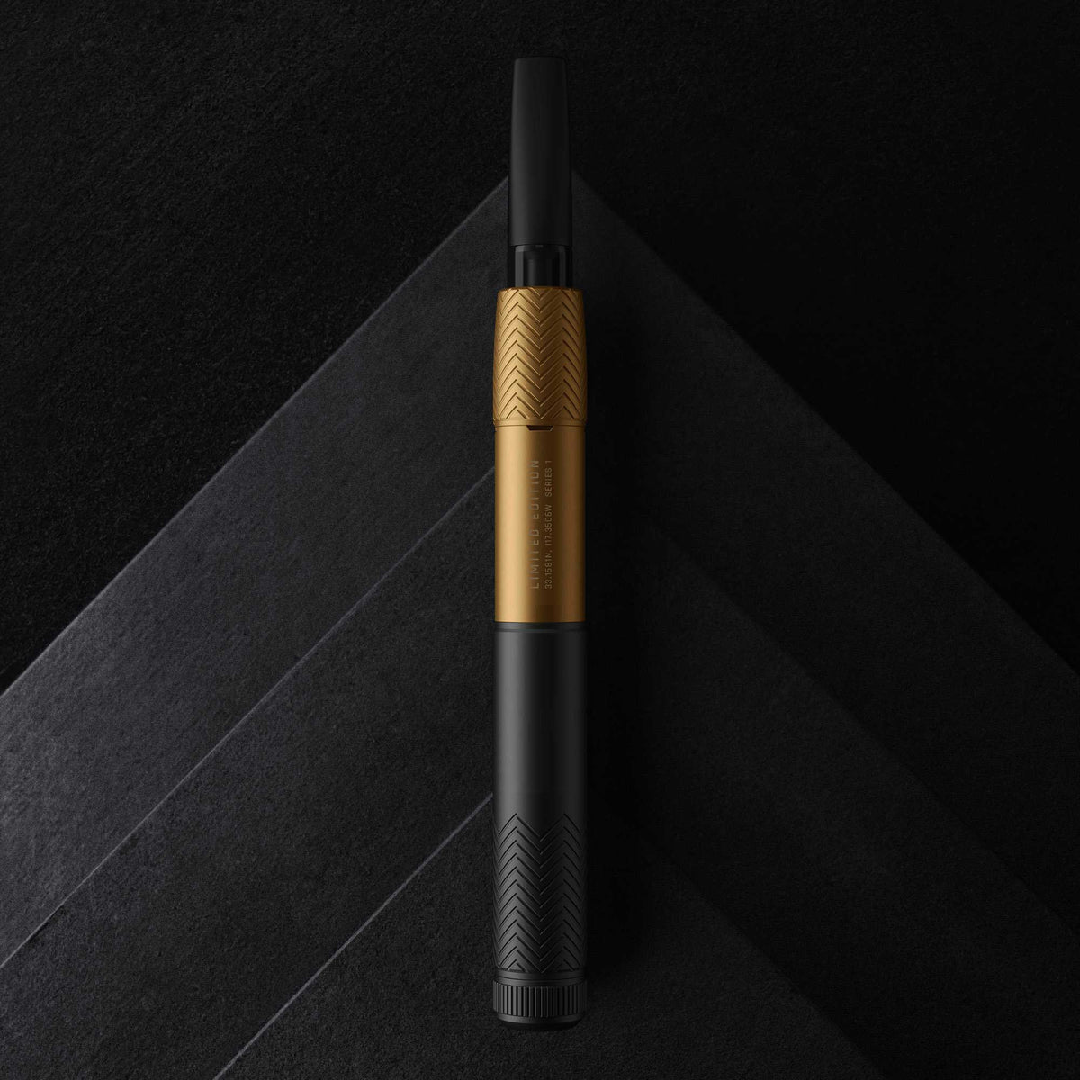Black and Gold Vape Pen Battery with Alternate Background